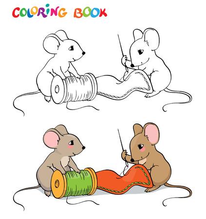 myszy: Kolorowanka lub stronę. Jedna mysz igły do szycia, drugi trzyma szpulę nici i wyglądu. Ilustracja