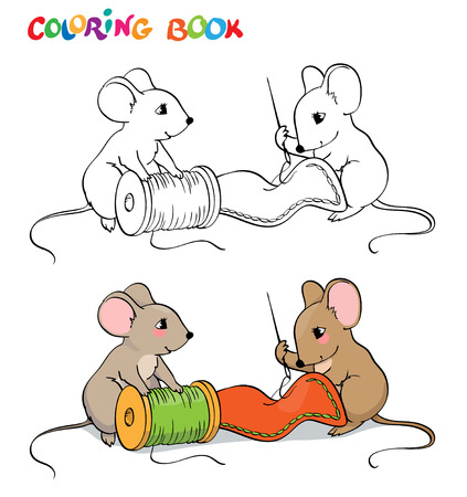 Coloring book or page. One mouse sewing needle, the other holding a spool of thread and looks.