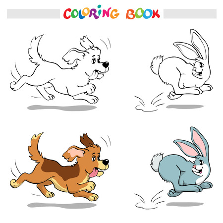 Coloring book or page. Scene - Dog chasing a rabbit.