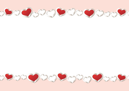Valentines Day seamless Background. Red Hearts Border Frame. Vector Frame with horizontal Space for your Text. Illustration