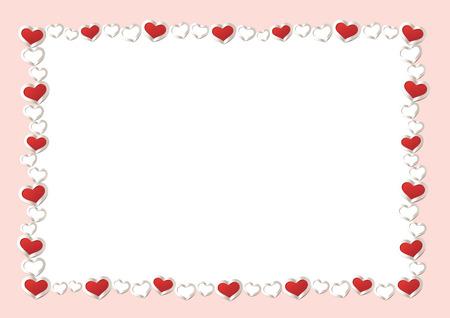 bordes decorativos: Fondo del día de San Valentín. Corazones rojos marco de borde. Marco del vector con el espacio para su texto gorizontal.