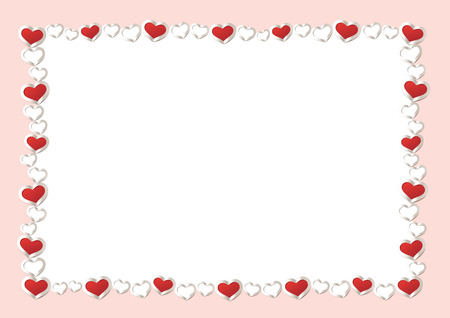 Valentines Day Background. Red Hearts Border Frame. Vector Frame with gorizontal Space for your Text.