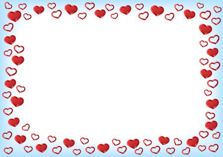 Valentijnsdag achtergrond. Red Hearts Border Frame. Vector Frame met gorizontal Ruimte voor uw tekst.