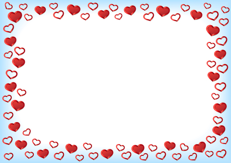Valentines Day Background. Red Hearts Border Frame. Vector Frame with gorizontal Space for your Text. Stock Vector - 50557792