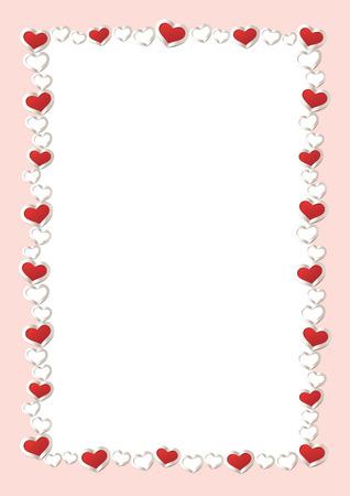 Valentijnsdag achtergrond. Red Hearts Border Frame. Vector Frame met verticale ruimte voor uw tekst.