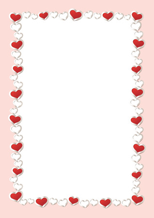 Valentines Day Background. Red Hearts Border Frame. Vector Frame with vertical Space for your Text. Иллюстрация