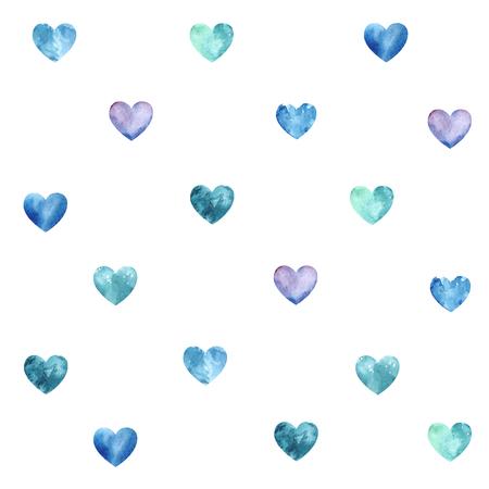 corazones azules: textura transparente con corazones azules acuarela Foto de archivo