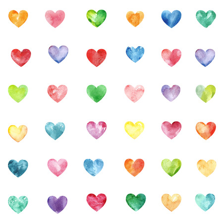 multycolored: Seamless texture with multycolored watercolor hearts Stock Photo