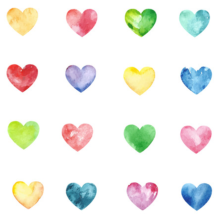 Vector Seamless pattern with varicolored watercolor hearts. Heart set. Vector Illustration