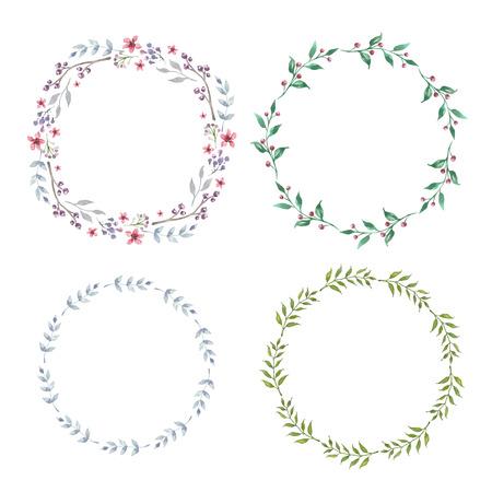 Bloemen Frame Collectie. Set van schattige retro bloemen regelde een vorm van de krans perfect voor bruiloft uitnodigingen en verjaardagskaarten