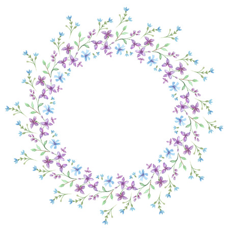retro flowers: Floral Frame. Cute retro flowers arranged a shape of the wreath perfect for wedding invitations and birthday cards Illustration