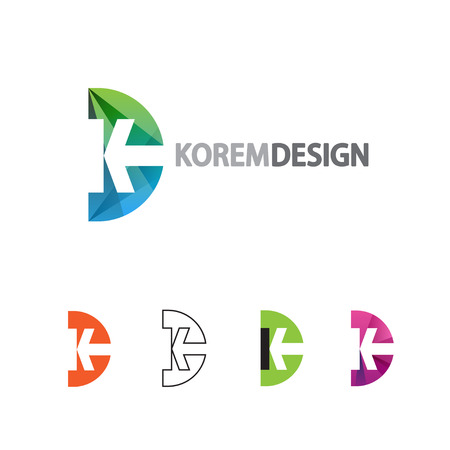 Dynamic Logo in flat, gradient and line style. Icon design letter K and D or semicircle with arrow. Logo