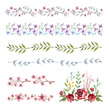 leaves frame: Vector Floral Frame Border. Set of cute retro flowers for wedding invitations and birthday cards Illustration