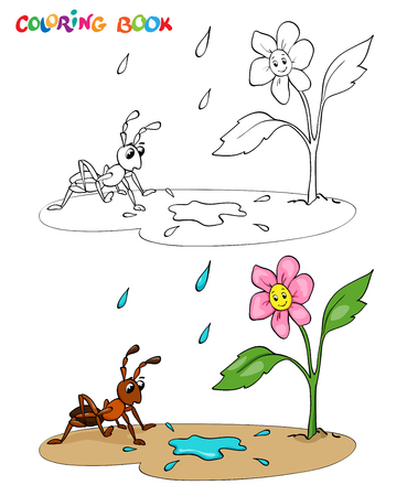 Coloring book or page. Flower daisy with ant, it's raining - vector illustration.