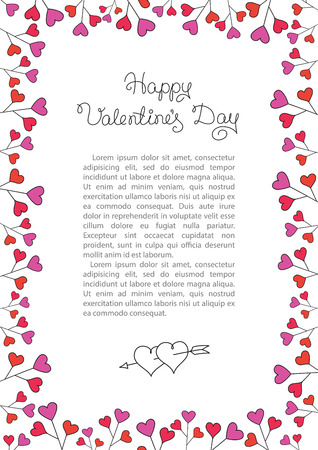 Valentines Day Background . Red Hearts Border Frame.  vertical Frame with Space for your Text . Illustration