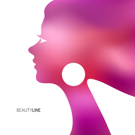 nebulous: Abstract vector background with blur female profile for greeting card or beauty salon poster.