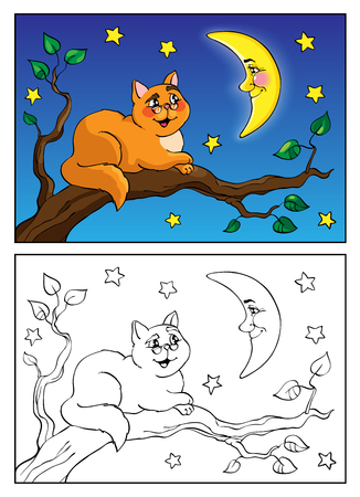 red sky: Coloring book or page. Funny Red cat lies on a branch and talking to the moon. The night sky in stars. Vector illustration.
