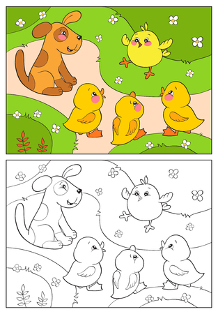 puppy cartoon: Coloring book or page. A yellow chicken cheers ducks and puppy. Merry animal and birds on a farm. Simple illustration for children of 2-3.