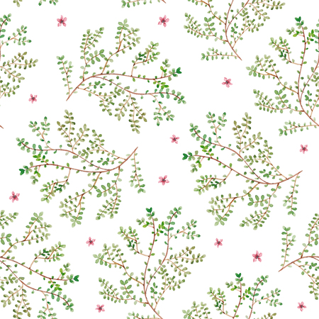 twigs: Watercolor twigs pattern. Seamless floral texture with branches, flower buds and leaves. Vector spring repeating background Illustration