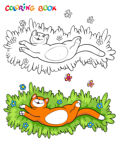 batterfly: Coloring book or page. Red cat on the grass, flowers and two butterflies - vector illustration. Illustration