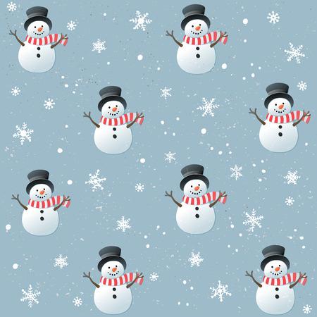 Boże Narodzenie bez szwu z happy snowman i płatków na niebieskim tle. Ilustracje wektorowe