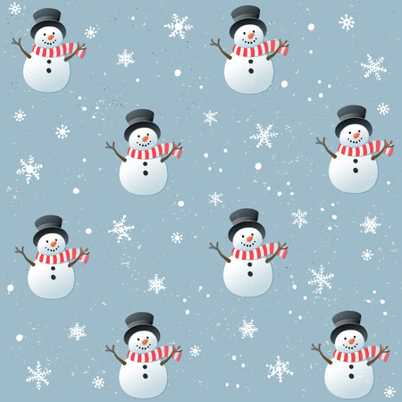 Christmas seamless pattern with happy snowman and flakes on blue background. Illustration