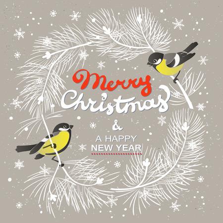 Cartel de Navidad. Ilustración de fondo de Navidad con ramas de árboles de Navidad y dos tomtits. Ilustración de vector