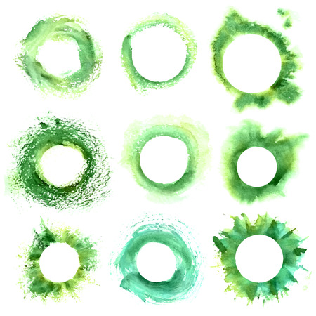 set of round green frame with grunge. Watercolor hand drawn frame.
