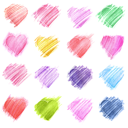 color pencil: Hand-drawn sketch hearts for Valentines Day design.  illustration.