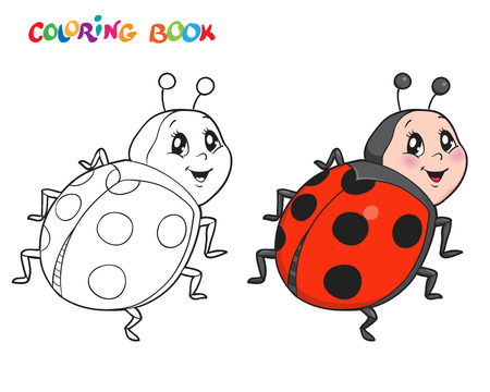 Coloring book or page with Ladybug. Vector illustration. Isolated on white.