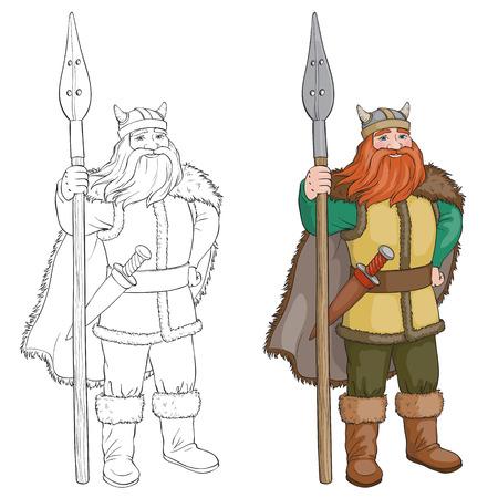 In bianco e nero Vector cartoon illustrazione di vichinga o cavaliere. Libro da colorare o la pagina di isolati vichinga. Vettoriali