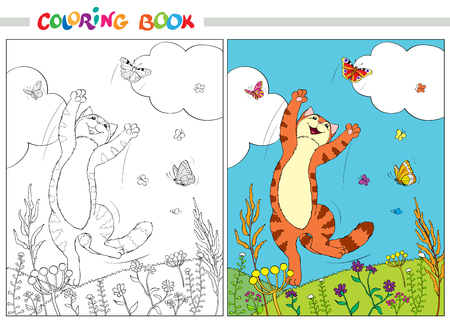 mjau: Coloring book or page. Red cat jumping over the butterflies in the grass and flowers on a background of blue sky and white clouds. Vector illustration.