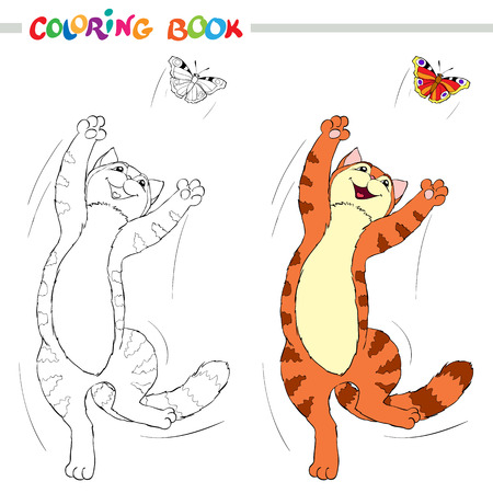 Coloring book or page. Red cat jumping over the butterflies on white background. Vector illustration.