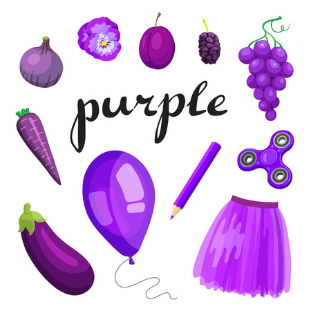 Purple. Learn the color. Education set. Illustration of primary colors. Vector illustration