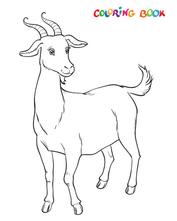 Goat to be colored, the coloring book for kids. Vector illustration