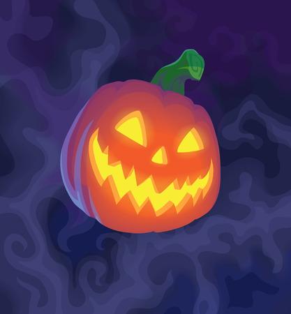 Halloween night blurred background with pumpkin. Vector illustration. Illustration
