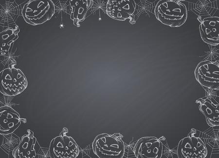 Halloween Poster - Illustration. Vector illustration of Halloween Background with pumpkins and web on blackboard. Stock Vector - 85932630