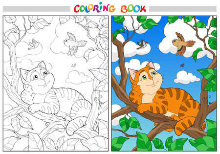 Coloring cartoon cat on a branch and Birds in the sky. For adults vector illustration. Black and white lines