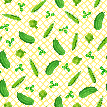Seamless pattern with green vegetable on white background. Vector illustration Illustration