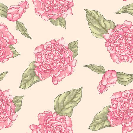 Floral seamless pattern of light pink garden flowers peonies on beige background. Standard-Bild - 98350522