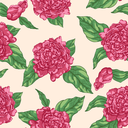 Floral seamless pattern of hot pink garden flowers peonies on beige background.