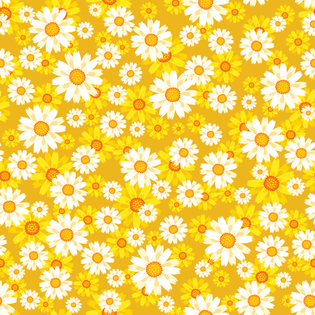 Lovely floral seamless pattern vector illustration with yellow and white flowers  イラスト・ベクター素材
