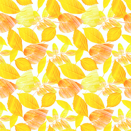 A seamless background pattern with hand draw golden yellow leaves on white, toned