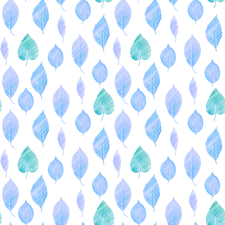 A seamless background pattern with hand draw green and blue leaves on white, toned