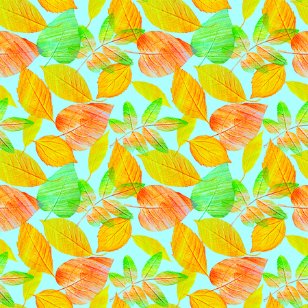 A seamless background pattern with hand draw green and golden yellow leaves, toned