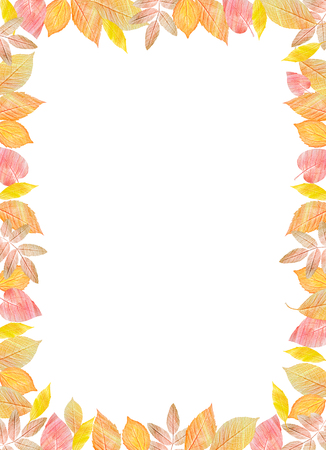 Fall Festival template. Bright colourful autumn leaves on vertical white background. You can place your text in the center. 写真素材