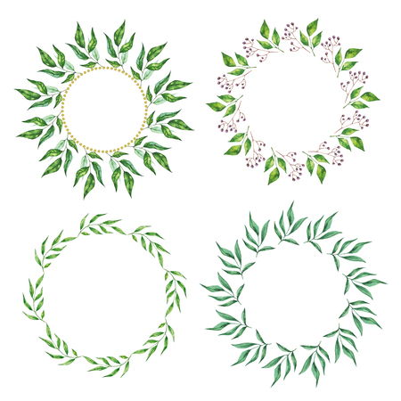 Floral Frame Collection. Set of cute retro leaf arranged un a shape of the wreath for wedding invitations and birthday cards  イラスト・ベクター素材