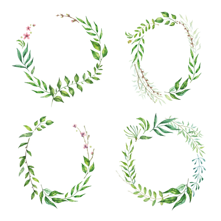 Floral frame collection. Set of cute retro leaf arranged in a shape of the wreath for wedding invitations and birthday cards.