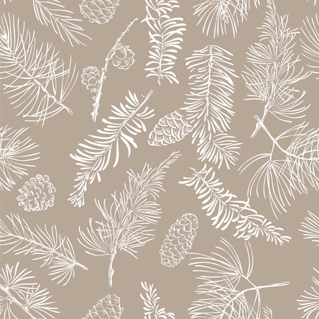 Seamless pattern with fir branches. Christmas and New Year background. Vector illustration.  イラスト・ベクター素材