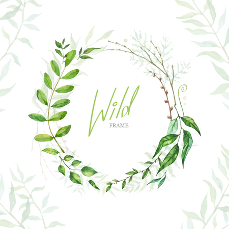 Floral Frame. Cute retro leaf arranged un a shape of the wreath for wedding invitations and birthday cards  イラスト・ベクター素材